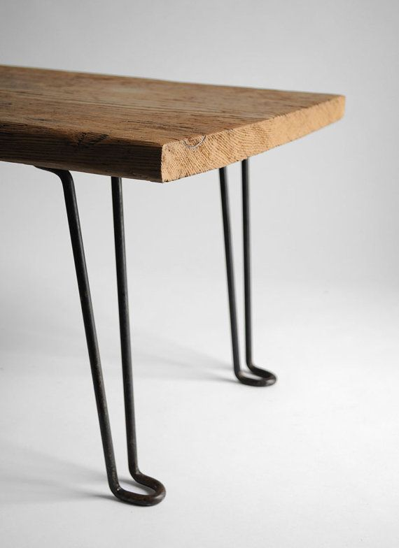 table with reclaimed wood and hairpin legs diy. Black Bedroom Furniture Sets. Home Design Ideas