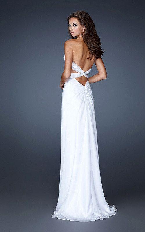 White Prom Dress That's Long | Image Source: girlshomecomingsale.com )