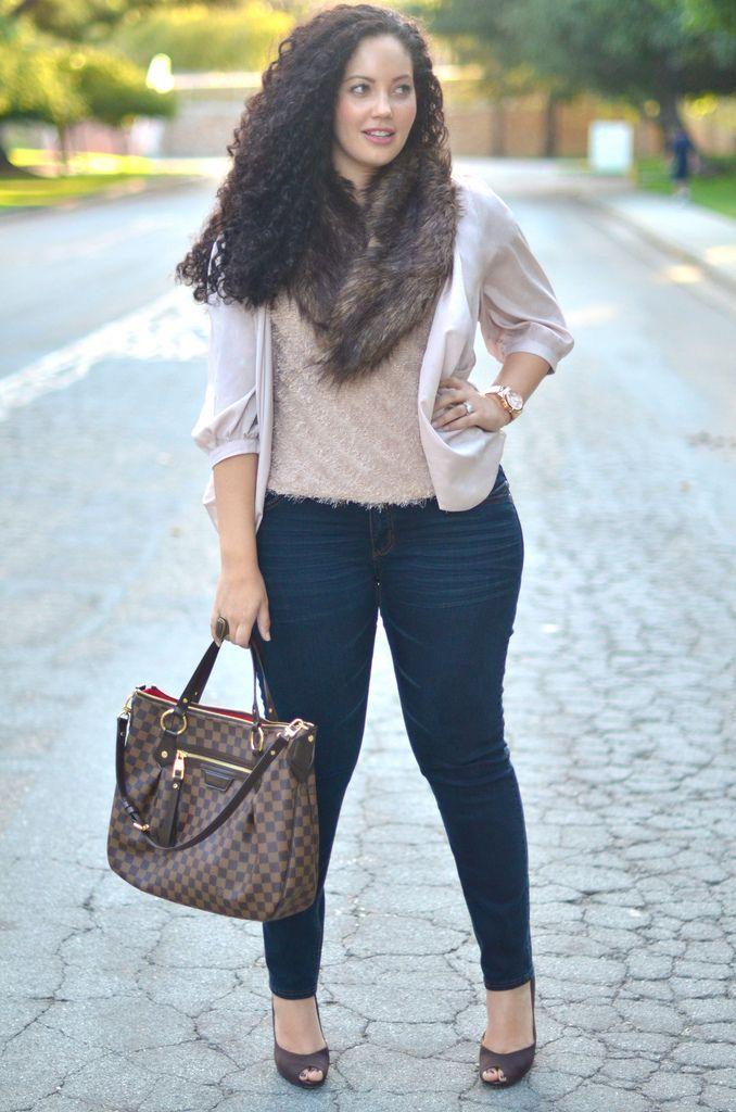 Faux fur, silk, and denim @girlwithcurves | Fashion | Pinterest ...