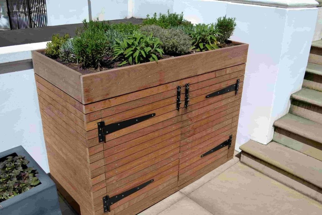 Storage Units and Binsheds is part of Garden storage - By creating a green roof for the binsheds we can also cover unpleasant odour as well, especially using highly aromatic herbs like rosemary, oregano,
