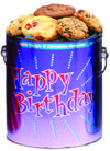 Birthday themed 1 gallon can of delicious chocolate chip or assorted cookies $28.99 for chip $29.99 for assorted