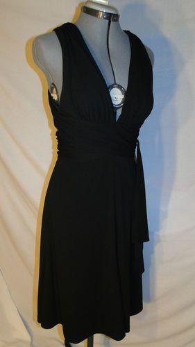 WHITE HOUSE  BLACK MARKET Black Halter, Cross Back Dress size 4