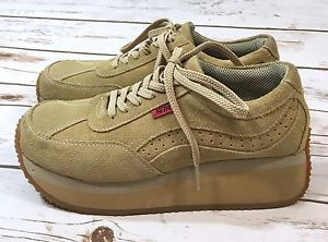 Vtg 90s Steve Madden Ralli Tan Suede Platform Wedge Sneakers Shoes Womens  8.5 | eBay