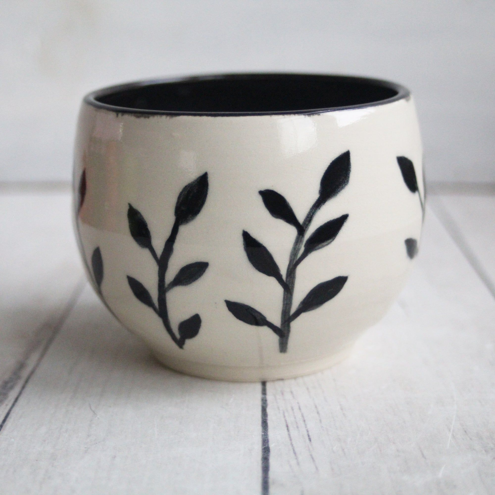 Black And White Botanical Yunomi Cup Hand Brush Work Pottery Cup Made In Usa Wheel Thrown Pottery Pottery Black Clay