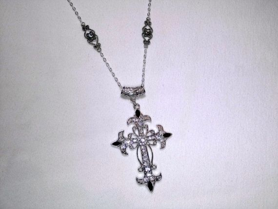 Rhinestone Cross Pendant with Upcycled Bracelet by SadiesSnippets, $30.00