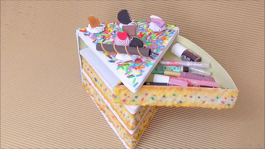 DIY organizador kawaii de cartón en forma de tarta o pastel - Isa ❤️ | Manualidades