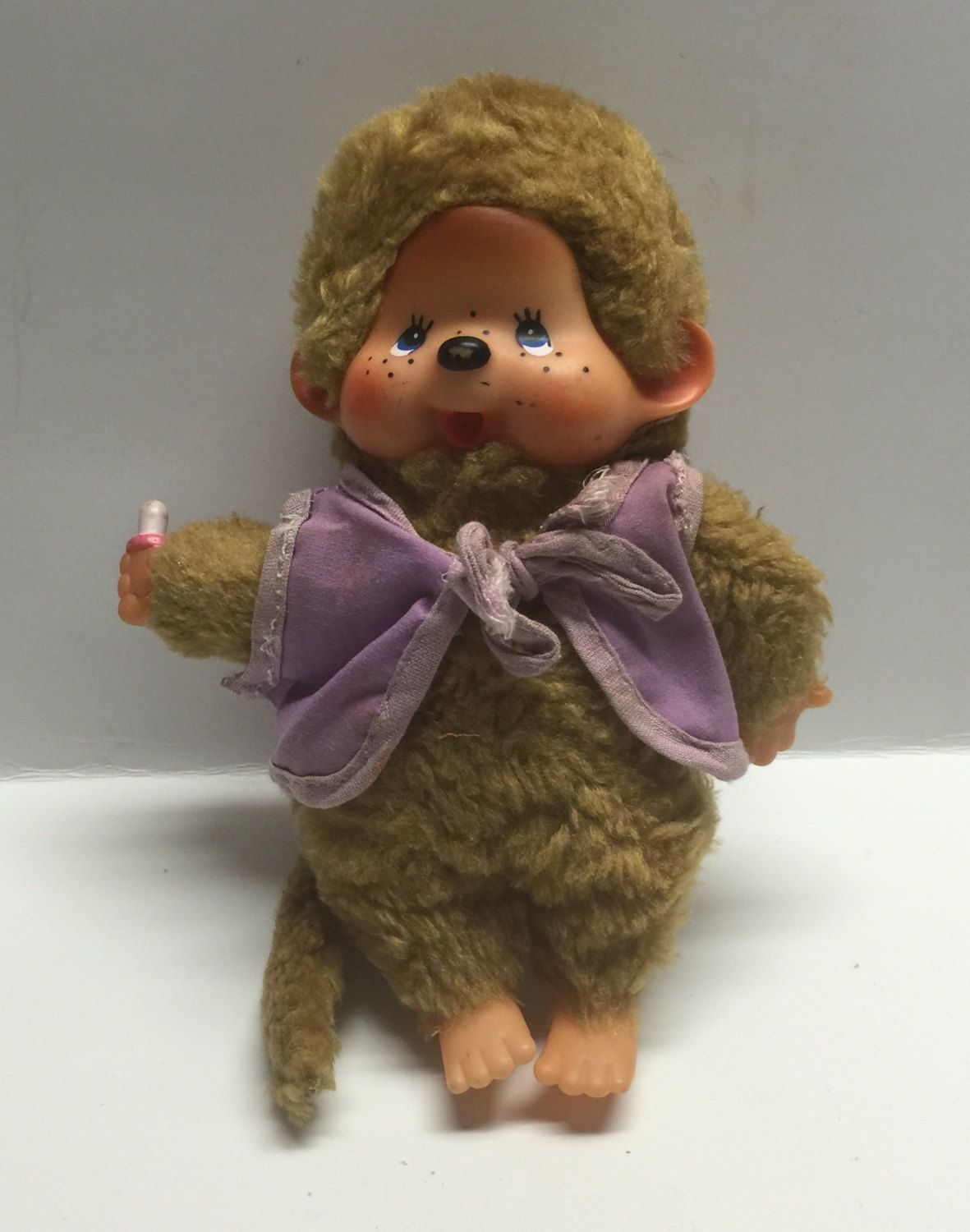Monchhichi brown vintage Collectable doll purple vest bottle bear like stuffed animal by Bayleesncream on Etsy