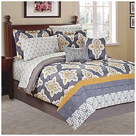 Living Colors King Gray Tile 10 Piece Bed In A Bag At Lots