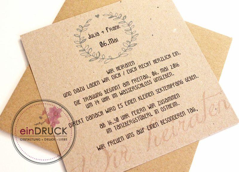 Hochzeitseinladung Kraftpapier, Vintage, Von EinDruck Auf DaWanda.com