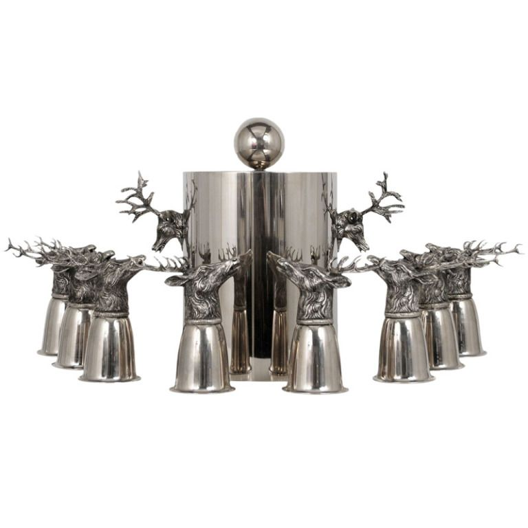 Pewter stag barware by Gucci