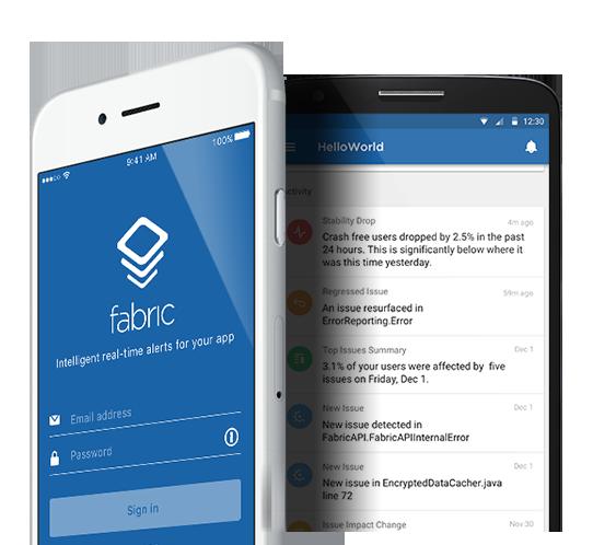 Fabric mobilné aplikácie.  K dispozícii na AppStore a Google Play