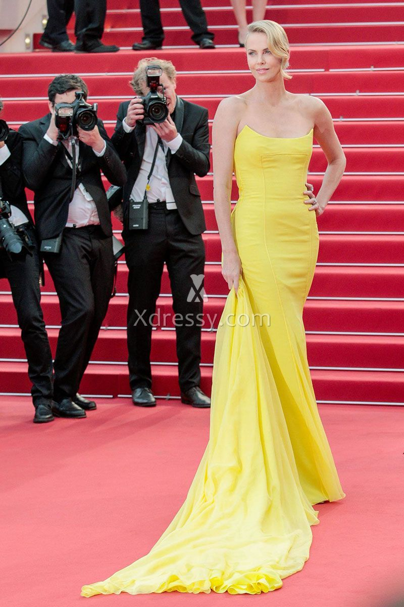 Charlize theron yellow strapless mermaid evening prom dress cannes