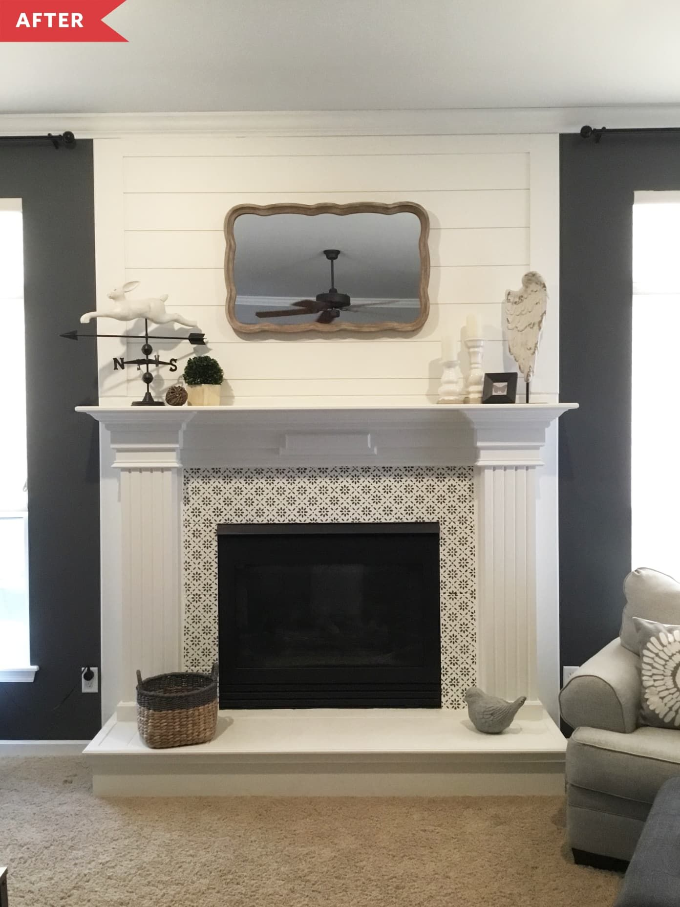 Before and After: A $200 Farmhouse Modern Fireplace Update Done in a Weekend in 2020   Modern ...