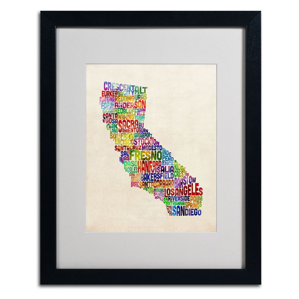 Trademark Global California City Framed Canvas Wall Art, Multicolor