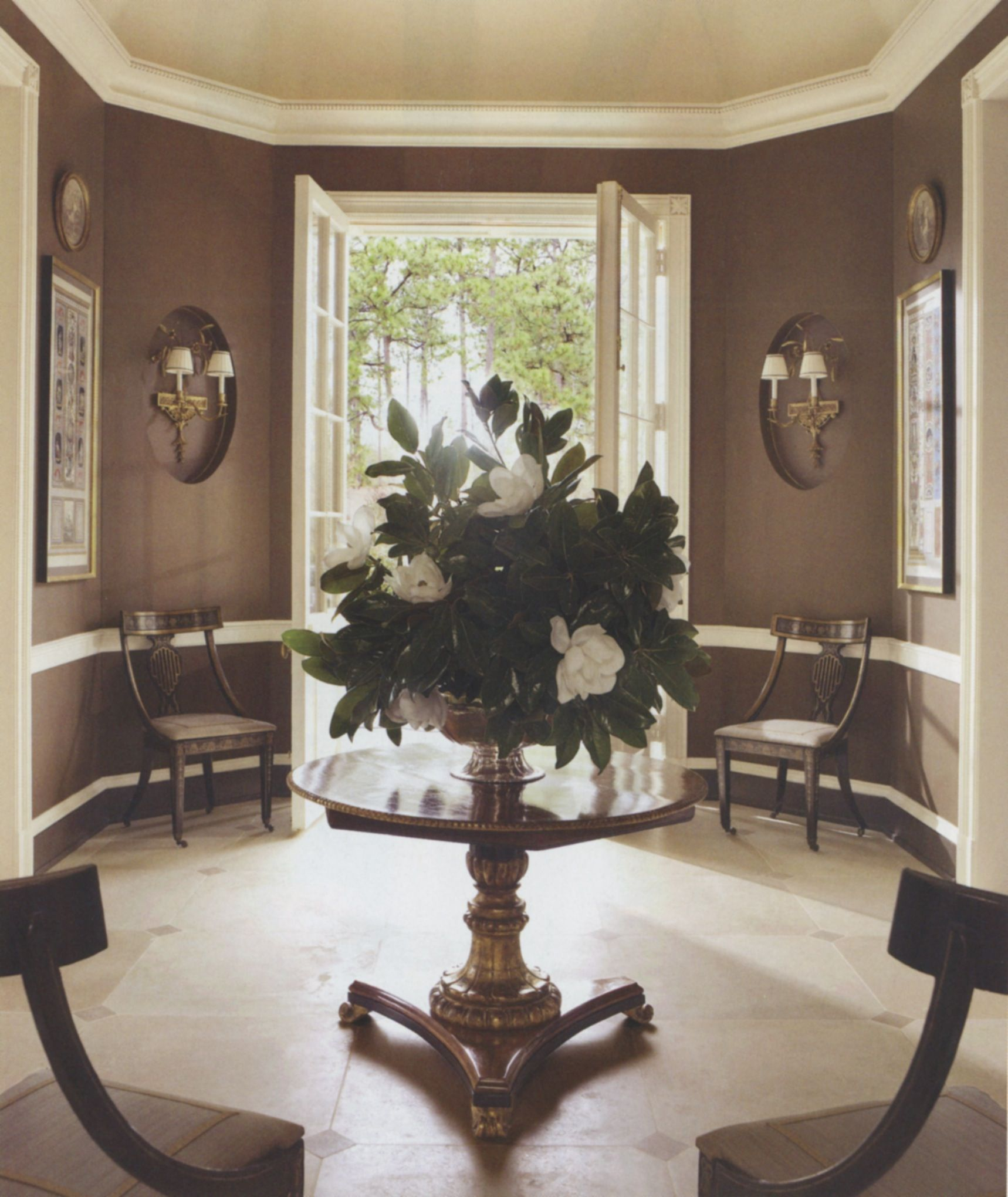 Statement Interiors By Richard Keith Langham Inc. Entrance HallsGrand  EntranceEntrance Hall TablesFoyer TablesRound ...