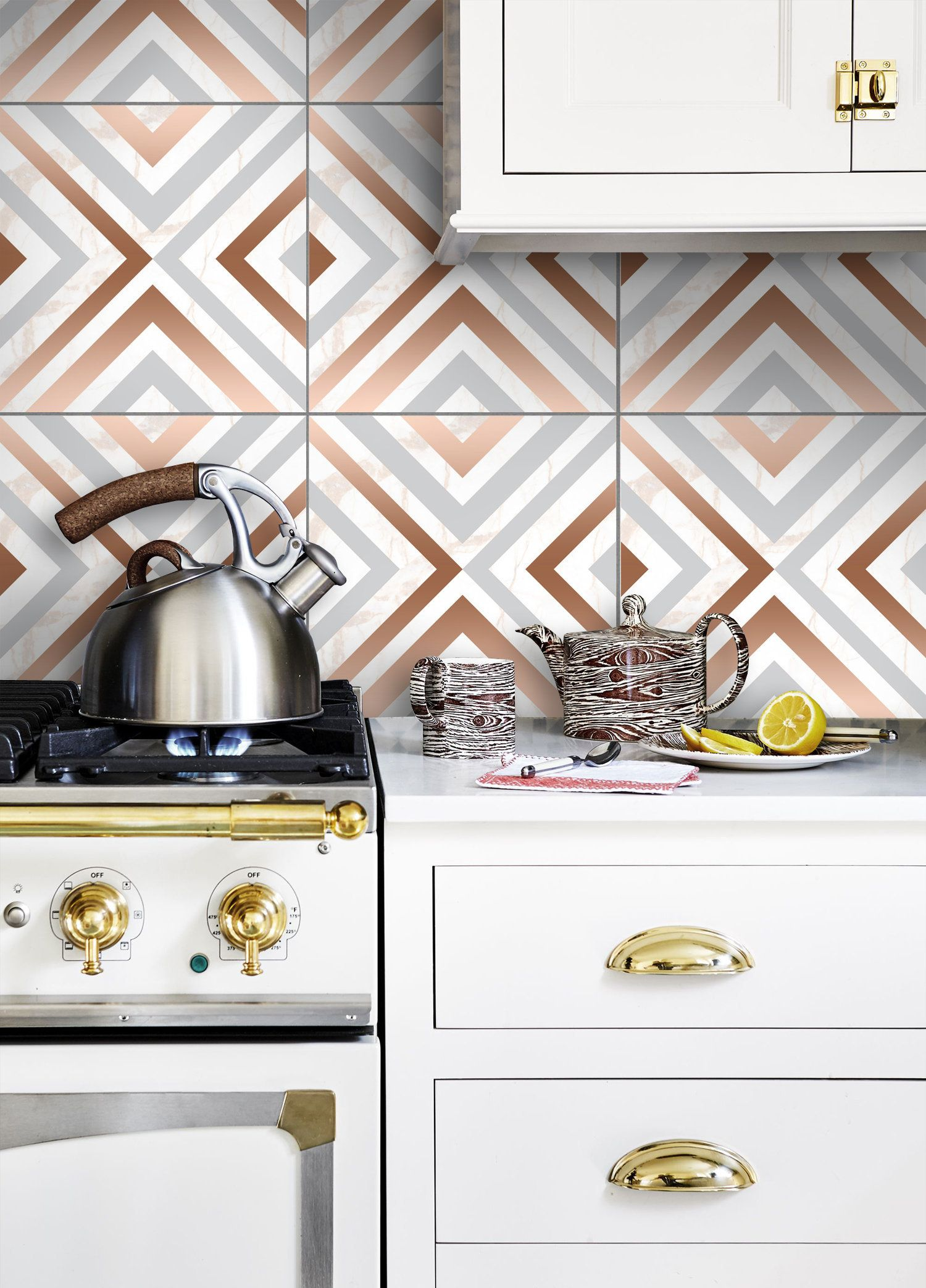 - Wall Tile Stickers PACK OF 12 For Kitchen, Bathroom / Faux Copper