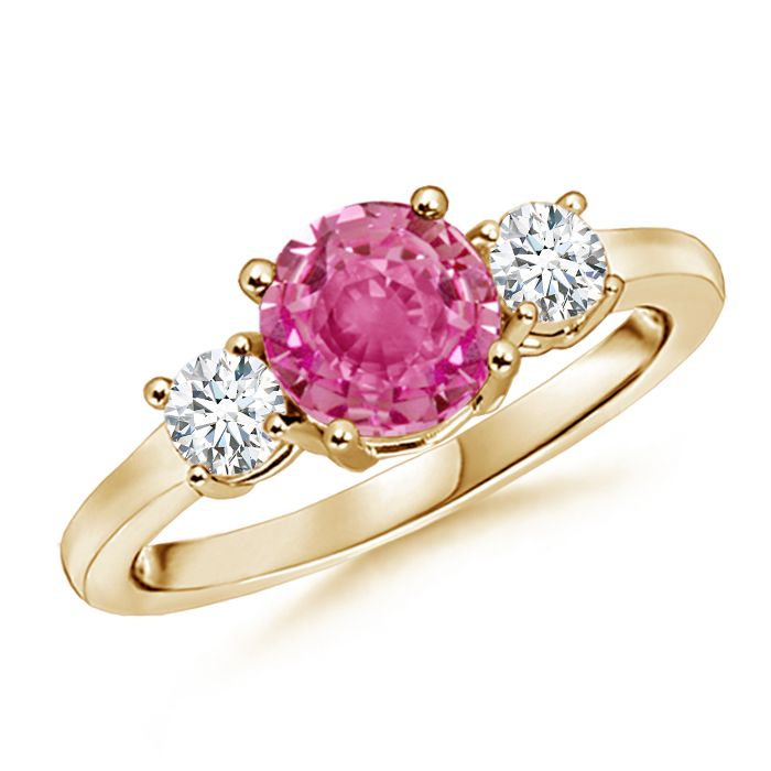Angara 3-Stone Oval Pink Tourmaline and Half Moon Diamond Ring in Rose Gold Xp1ZF