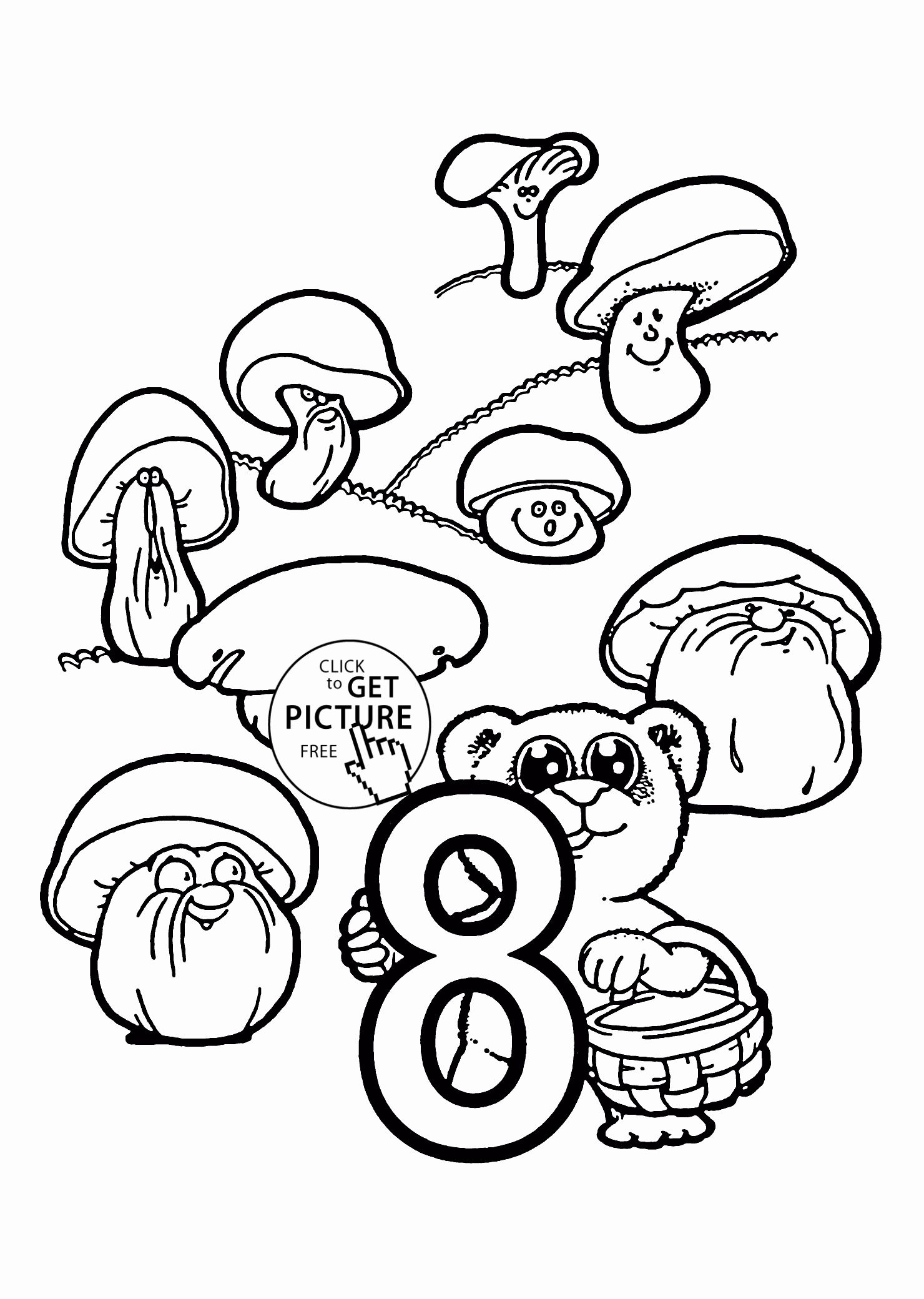 Number 8 Coloring Page Crafts And Worksheets For Preschool Toddler And Kindergarten Coloring Pages For Kids Numbers Preschool Christmas Worksheets
