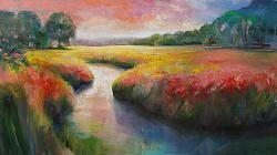 Meandering   schilderij van een landschap in olieverf van Hans Musters   Exclusieve kunst online te koop in de webshop van Galerie Wildevuur