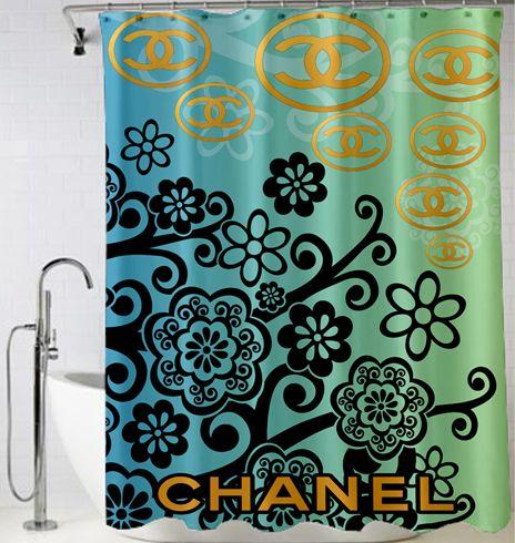 Chanel Logo Gold Chanel Shower Curtain