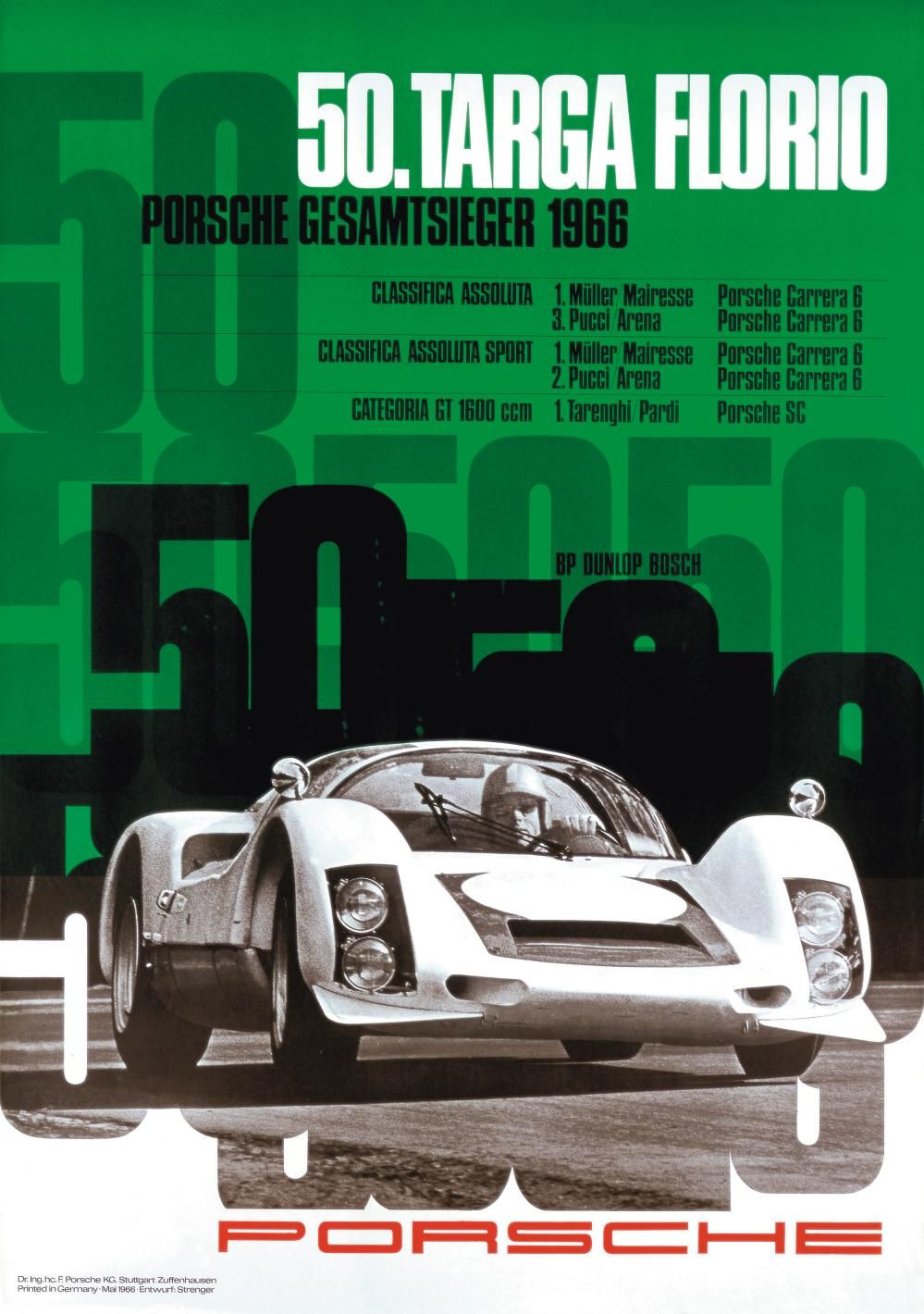 Vintage 1966 Dunlop Car Racing Poster