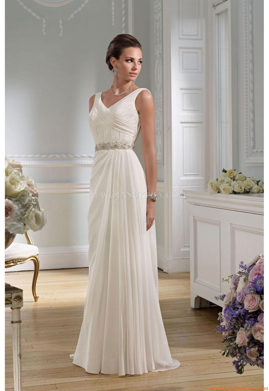 V-neck Schlicht Mollig Elegante Brautkleider 16 aus Chiffon