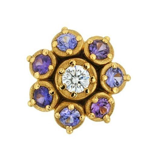 Alex Sepkus    Sapphire Flower        18K, Purple Sapphire and Diamond Flower Earrings