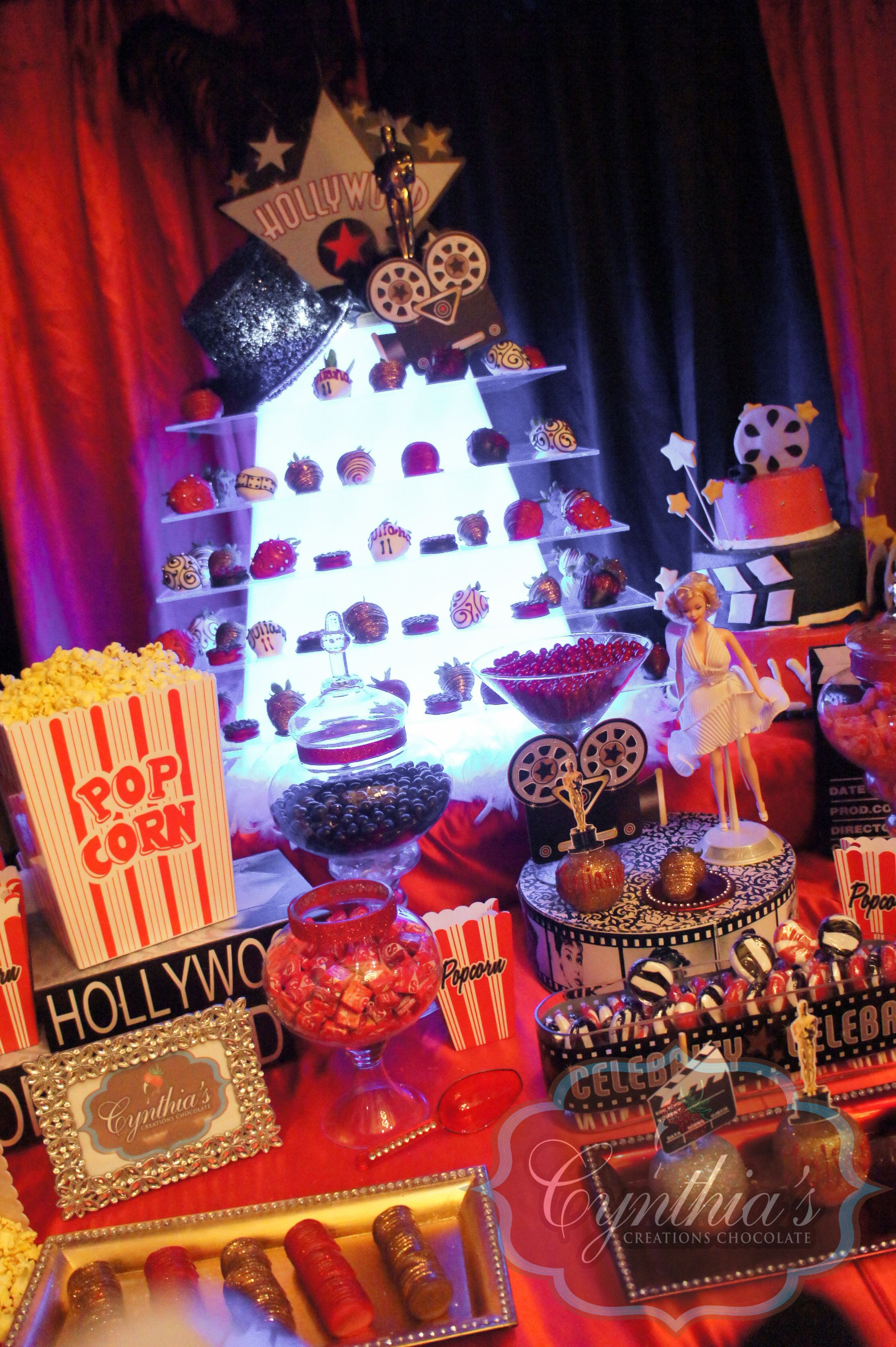 hollywood candy buffet dessert table broadway theme party
