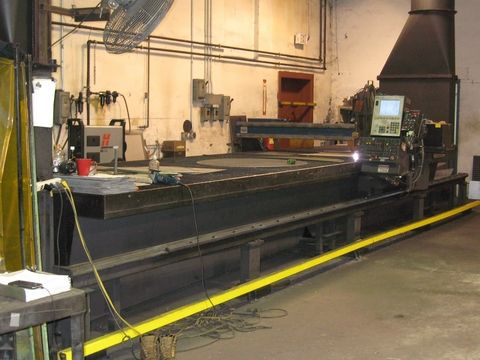 "MG CNC PLASMA BURNING MACHINE, 440 VOLT, 3 PHASE, 72"" X 24' TABLE, 2009 HYPERTHERM POWERMAX 1650 PLASMA CUTTER WITH T100-2 MACHINE TORCH, 2009 HYPERTHERM MODEL PHC HEIGHT SENSOR, 1999 MESSER MODEL PILOT CNC CONTROL, PIERCE CAPABILITY = 3/4"", CUT CAPABILITY = 1 1/4"", SHOP DATA SYSTEMS SOFTWARE: BASIC SOFTWARE INCLUDES 60 GENERAL SHAPES PROGRAMMABLE FROM BURNING MACHINE AND MANUAL NESTING FROM MACHINE."