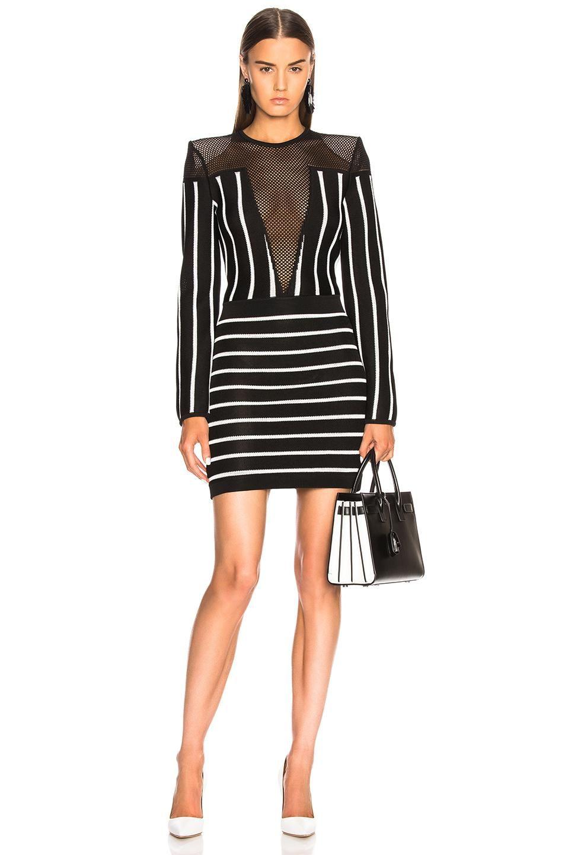 3e2d201ae42 Lyst - Balmain Striped Knit Dress in Black - Save 60.54421768707483%