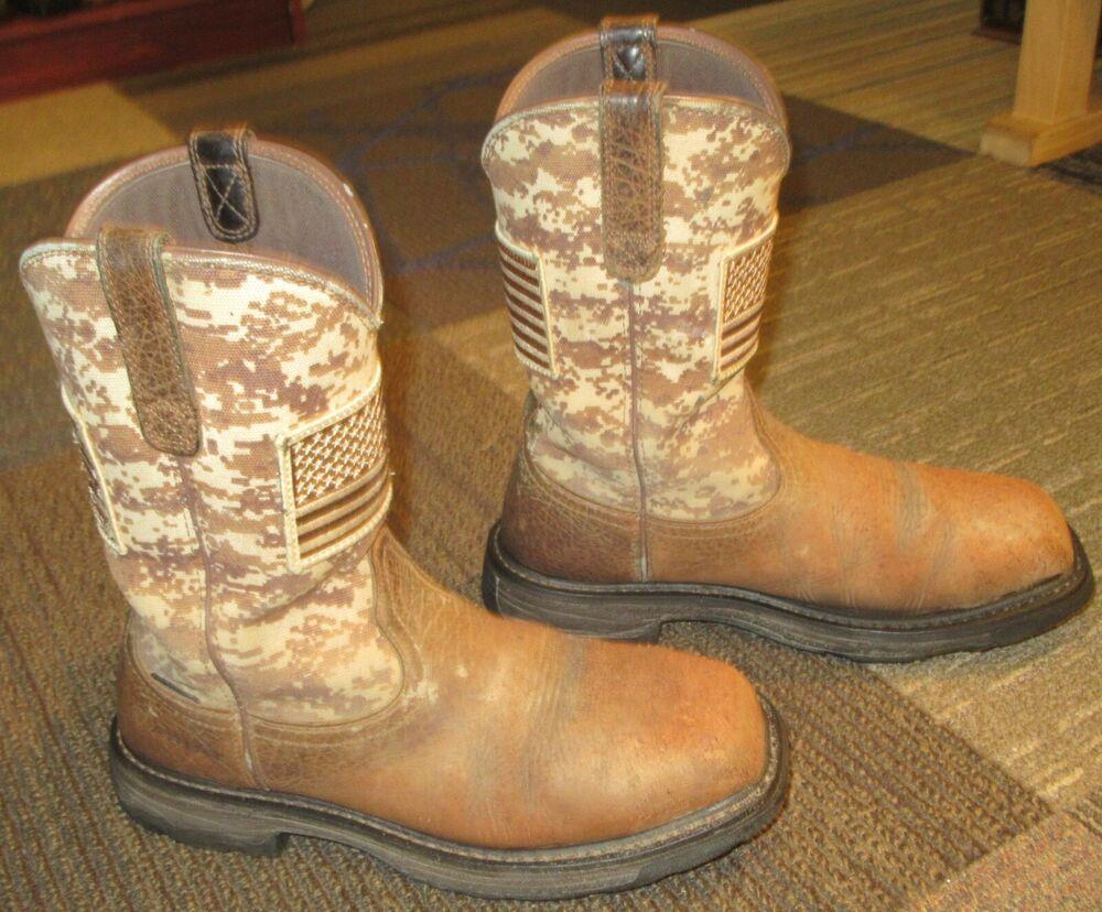 f2b728b5063 Mens ARIAT Workhog Patriot Steel Toe Leather Work Boots sz 9.5 D ...