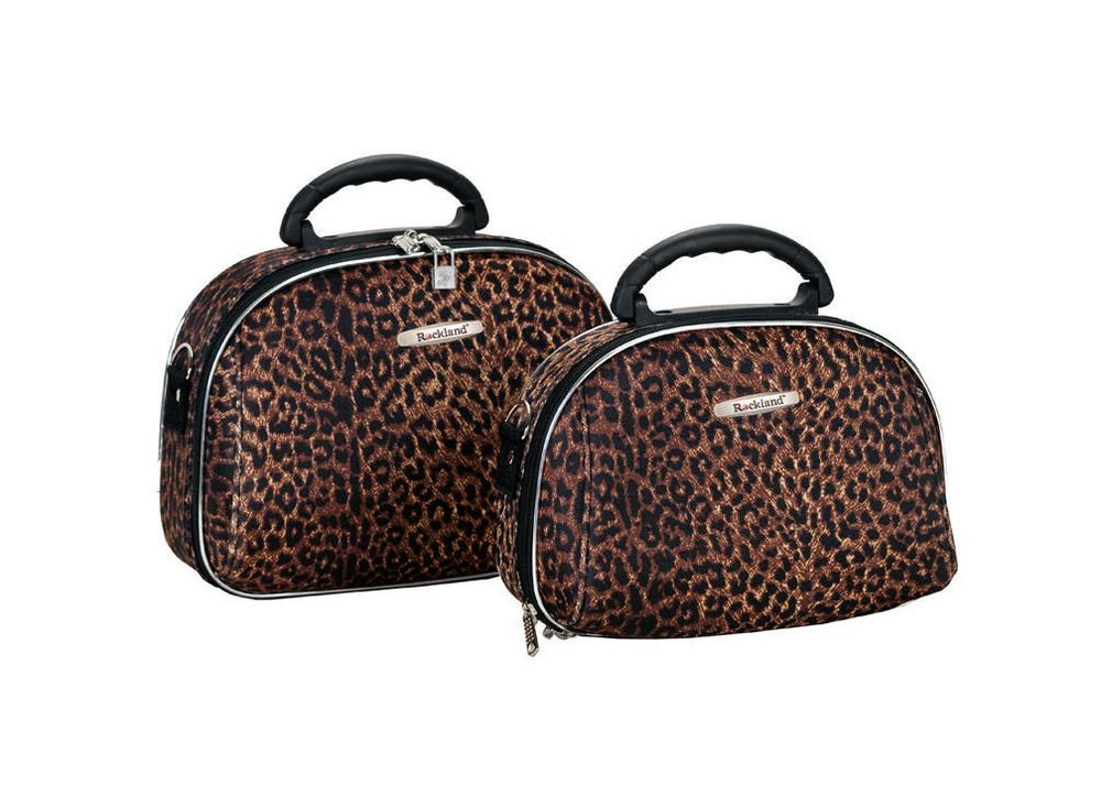 Rockland Luggage 2 Piece Cosmetic Case Set Leopard Animal Print Bags Toiletry