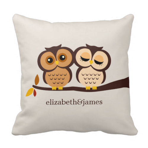 Add your own names or messages to this owl couple throw pillow.  Great for weddings, anniversaries, etc.