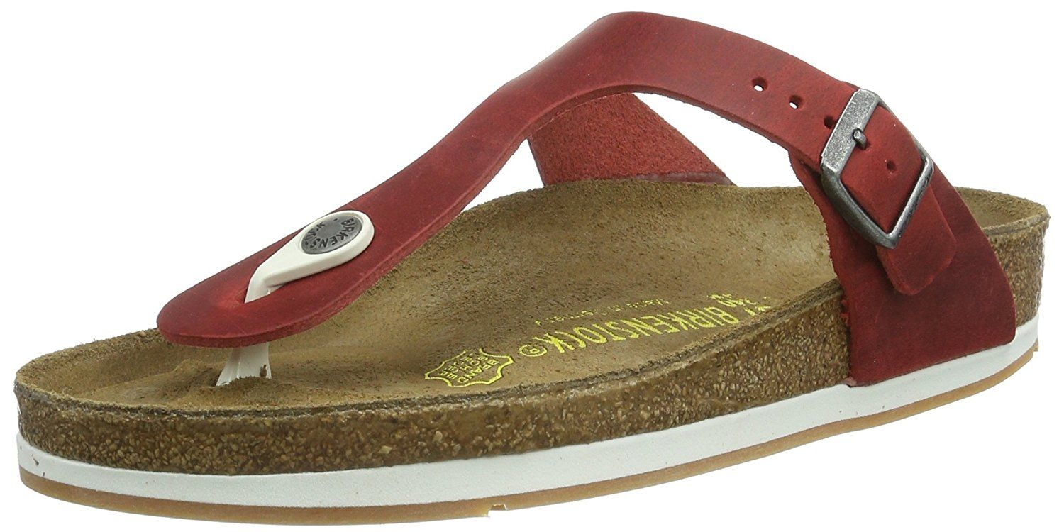 Birkenstock Gizeh New Rubber Sole in Oiled Leather Red