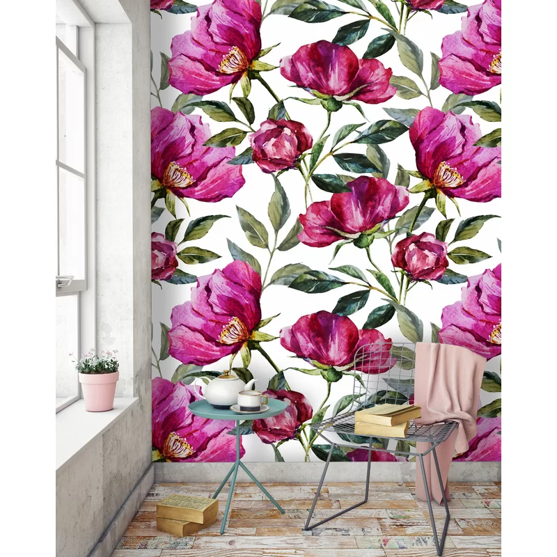 """Colvin Removable Poppy Floral 10' L x 120"""" W Peel and"""