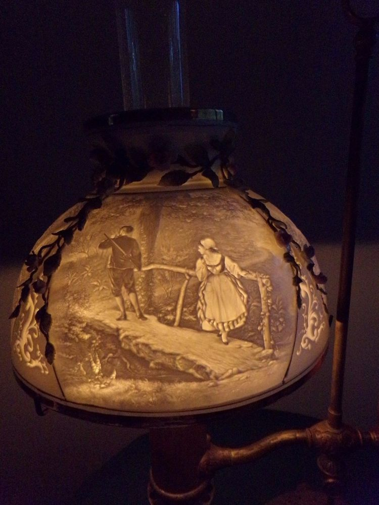 Rare antique lithophane student oil lamp shade10 inch oil rare antique lithophane student oil lamp shade10 inch mozeypictures Image collections