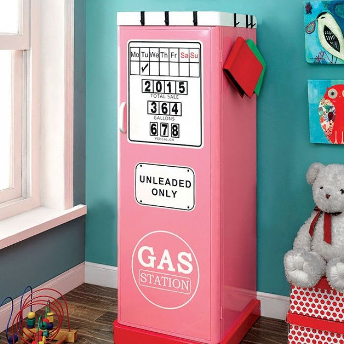 """Petro II Single Pink Closet - CM-AC6261PK $237  Description:  What's a race car without gas? A perfect match to a car bed, this double door closet is designed to resemble a gas pump, complete with sale price, gallons, and an """"Unleaded Only"""" sign. Inside, you'll find 4-tier shelves and space to hang your child's clothes.    Features:  Gasoline Pump Design Metal Construction Magnetic Numbers Available in 6 Designs Pink Dimension:   Single Closet:  22""""L X 20""""W X 59""""H"""