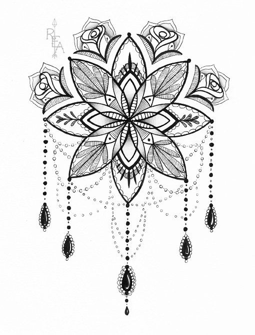 Mandala Illustration Tattoo Art Pen And Ink Drawing 5x7 Giclee