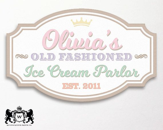 ice cream party backdrop sign logo sign by