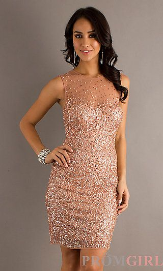 ad640f8a5f Nude Sequin Dress by Morgan 3004 at PromGirl.com