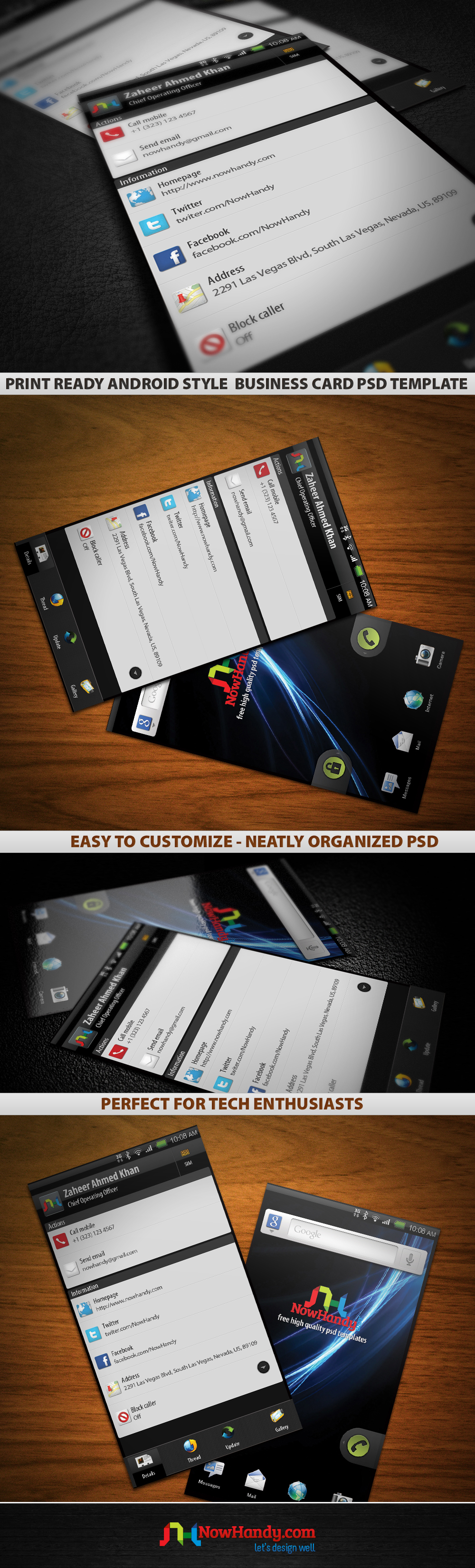 free print ready android based business card template design [psd