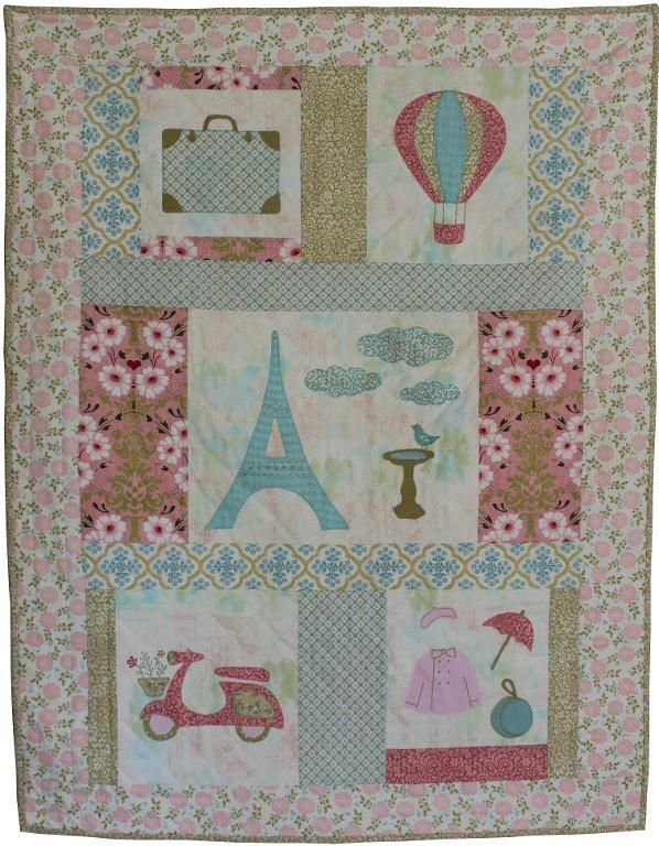 Baby Quilt Pattern for girls - Paris theme | Baby quilt patterns ... : designer baby quilts - Adamdwight.com