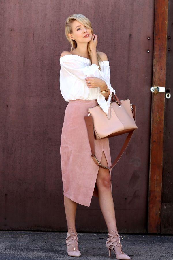 ede12292e Off the shoulder top, suede pencil skirt, Chloé bag and Aquazzura heels.