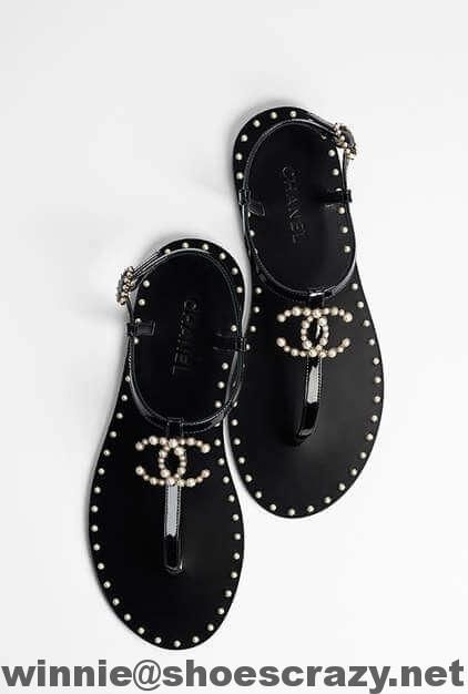 6d0325636c22 Chanel Patent Leather Pearls Thong Sandal G32551 2017