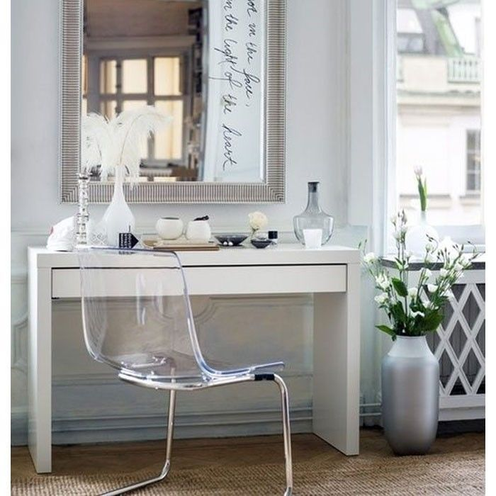 Great Value, Simple Dressing Table With Drawer Modern White Vanity Make Up  Table Desk Ikea