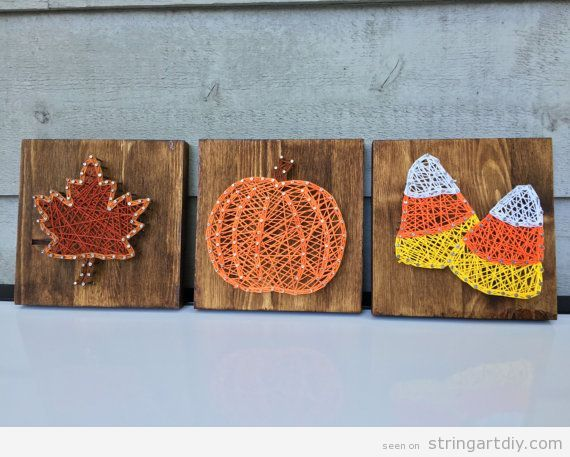Autumn string art, leave, pumpkin and candy corn #stringart