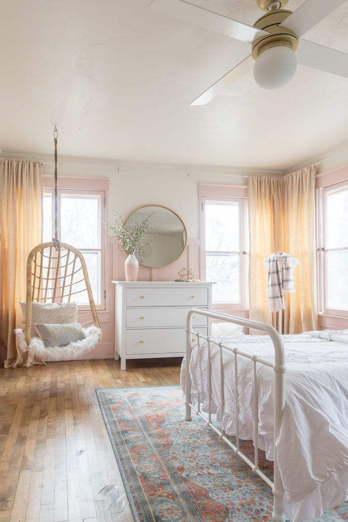 Pink & Gold Girls Bedroom Decor Ideas   Cherished Bliss -  A beautiful Pink and Gold Girls Bedroom with a modern yet delicate touch, fun seating, and function - #antiquedecor #apartmentdecor #bedroom #bedroomdecor #bliss #cherished #decor #girls #homedecor #ideas