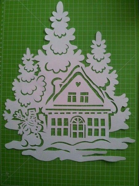 Fensterschmuck filigrane winterbilder ein designerst ck von bastel krativ fee bei dawanda - Fensterschmuck weihnachten basteln ...