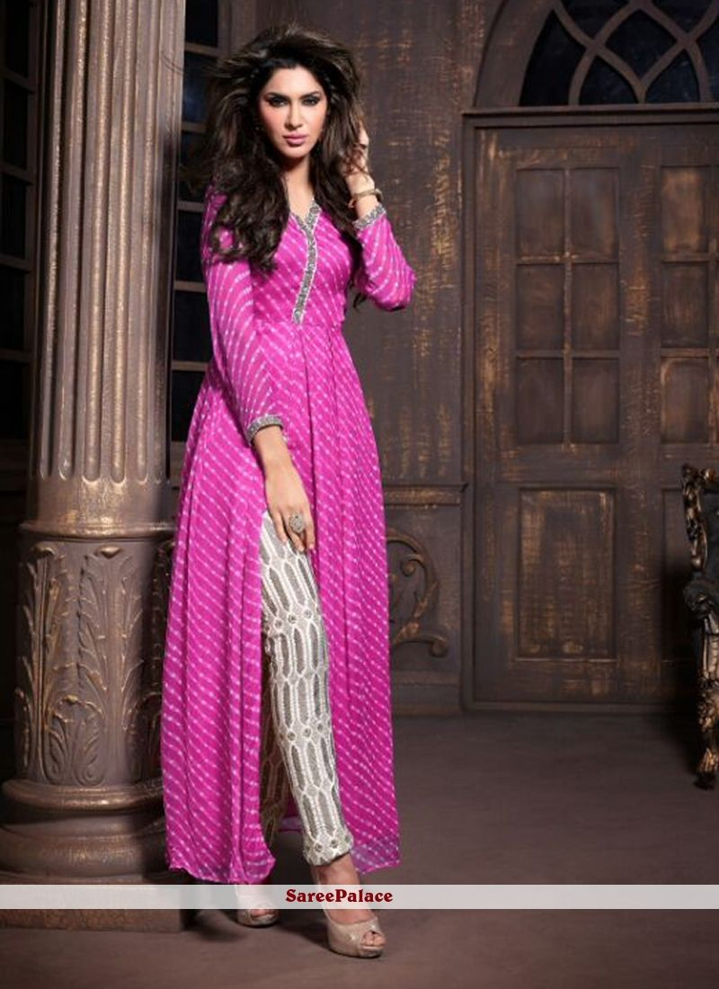 Dazzling Pink Shaded Faux Chiffon Pant Style Suit | Pantalones mujer ...