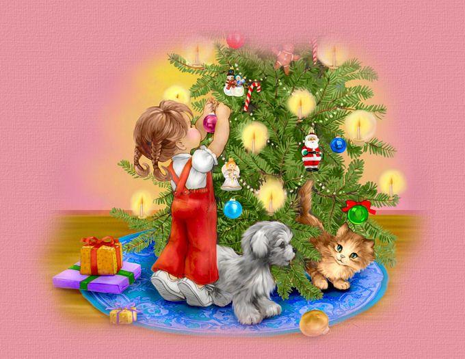 Дети под елкой открытки